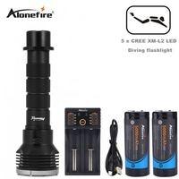 AloneFire DV35 diving underwater flashlight 5 x cree XM L L2 LED 26650 torch light waterproof brightness Lamp led Lantern