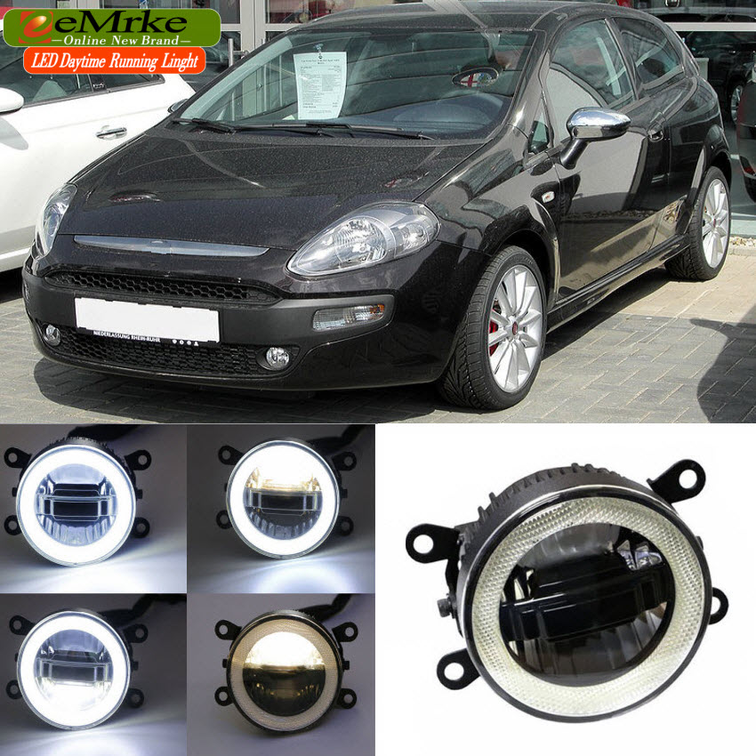 eeMrke For Fiat Punto EVO 2009-2012 3 in 1 LED DRL Angel Eye Fog Lamp Car Styling High Power Daytime Running Lights Accessory eemrke car led drl for honda odyssey jdm 2014 2015 2016 high power xenon white fog cover daytime running lights kits