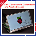 Raspberry PI 7 inch LCD 1024*600 Panel Digital LCD Screen and Drive Board(HDMI+VGA+2AV) + Transparent Clear Acrylic Bracket