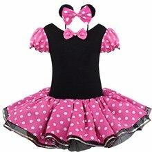 Новое лето Минни Детские платья для девочек праздничное платье принцессы детская одежда для девочек одежда Косплэй Обувь для девочек Минни платье + повязка на голову для От 2 до 7 лет