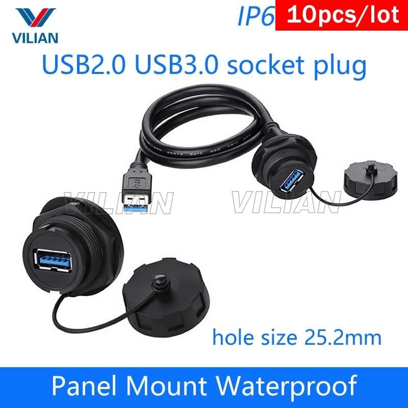 USB female socket plug panel mount adapter USB 3.0 waterproof connector IP67 s