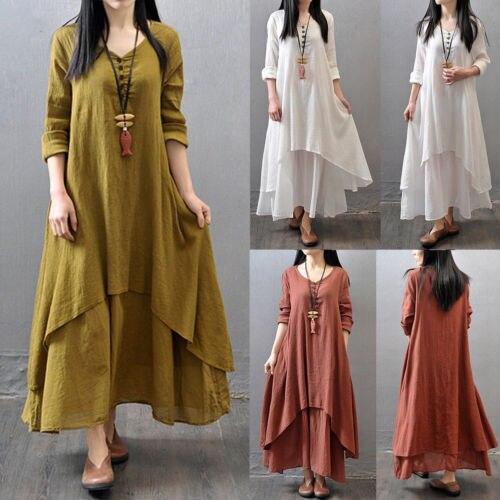 Best Seller Maxi Dress Women Peasant Ethnic Boho Cotton Linen Long
