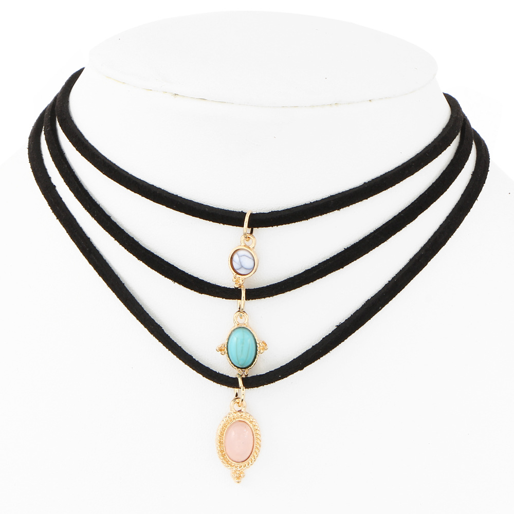 3pcs/Lot New Fashion Jewelry Leather Nature Stone 30+5cm Chorker Necklace For Women Girl Christmas present