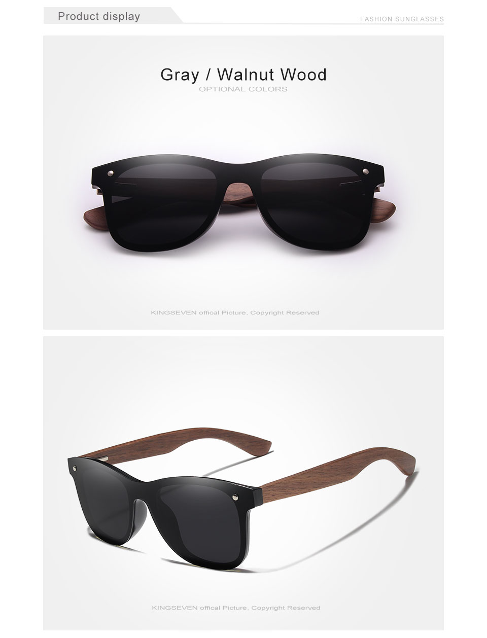 Walnut Wood Mirror Lens Polarized Sun Glasses