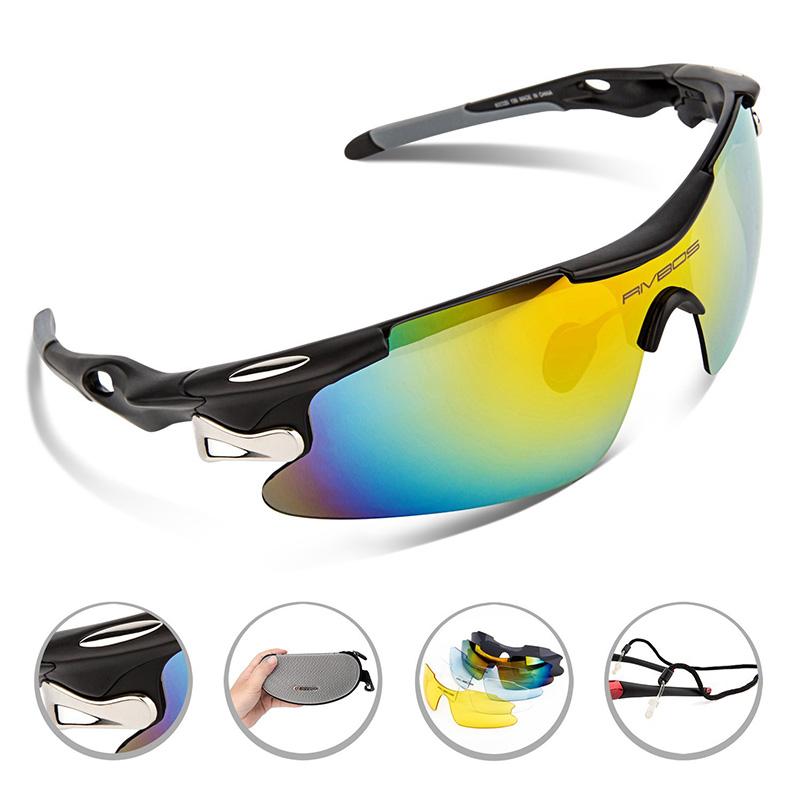 Цена за RIVBOS Поляризационные Спортивные Солнцезащитные Очки Мужчины Женщины Бег Велоспорт Очки Очки 5 Сменных Объективов gafas óculos ciclismo 2017