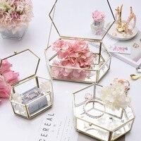 Glass jewelry box Eternal flower jewelry storage European jewelry box Design show retro transparent box
