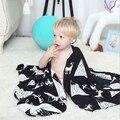 Impresión de la manera Manta de bebé manta De algodón de Punto, bebé cochecito manta, manta blanca, tamaño 75*110 cm