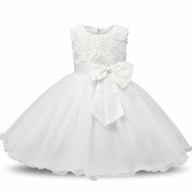 69f94ea5c091b Flower White Baby Girls Baptism Dress Girls Party Infant Baby Lace ...