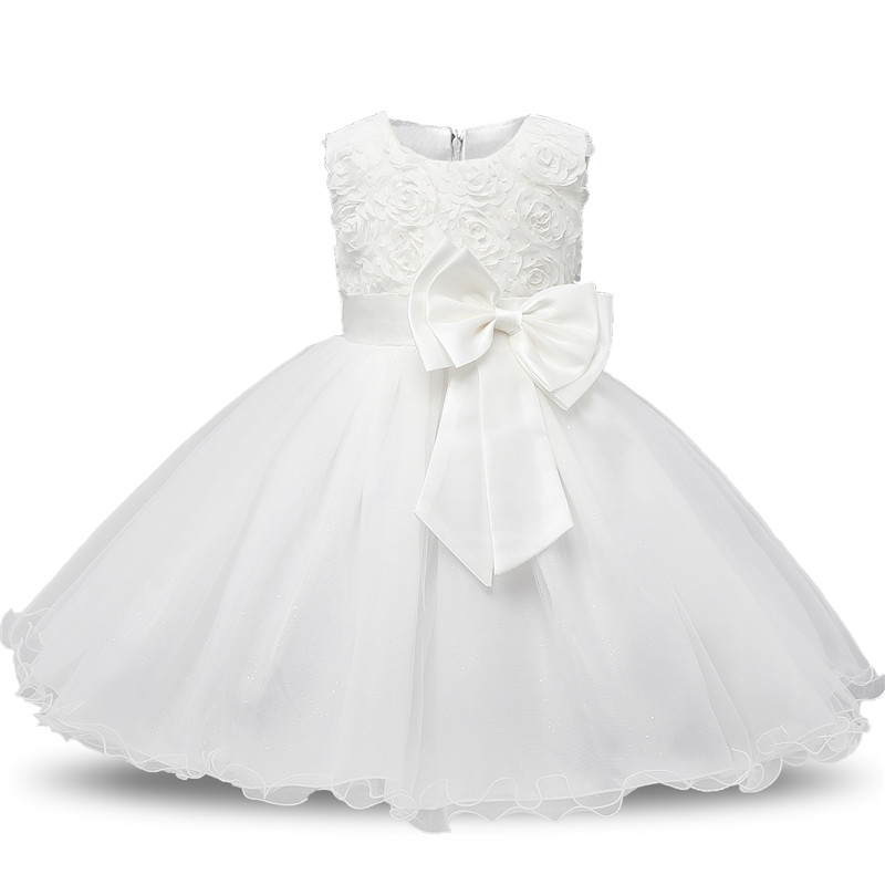 Flower White Baby Girls Baptism Dress Girls Party Infant Baby Lace Bow Decoration Bow Dresses 1st Birthday Toddler Girl Clothes