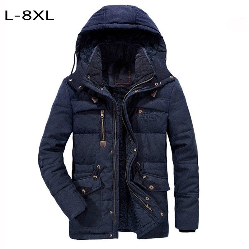 Hauts hiver grande taille 7XL 8XL hommes manteaux en coton rembourré veste épaisse doublure en laine thermique manteau d'extérieur chaud chapeau détachable