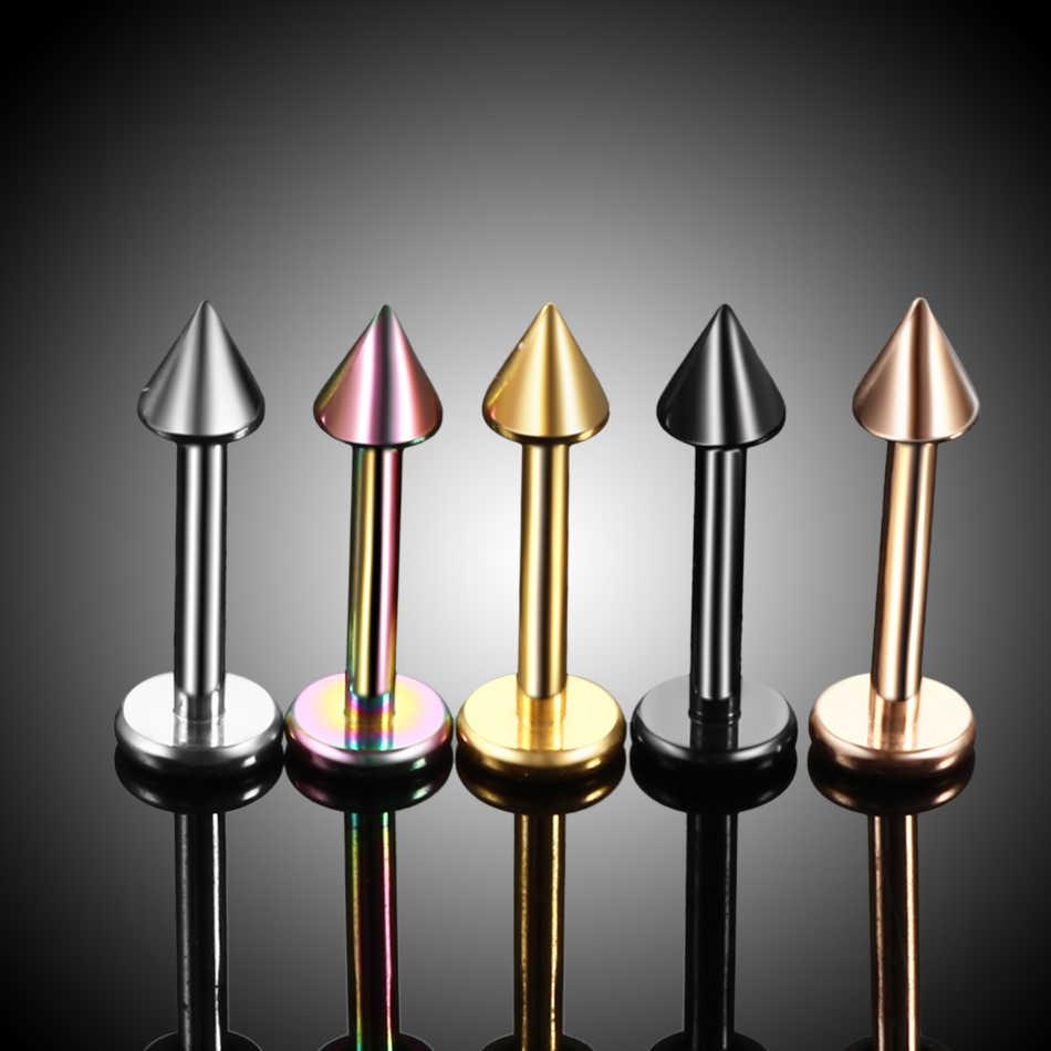 1PCS G23 Titanium Spike Labret Stud Nose Lip Helix Bar Stud Taper Tongue Piercing Ear Tragus Cartilage Earring Body Jewelry 16G