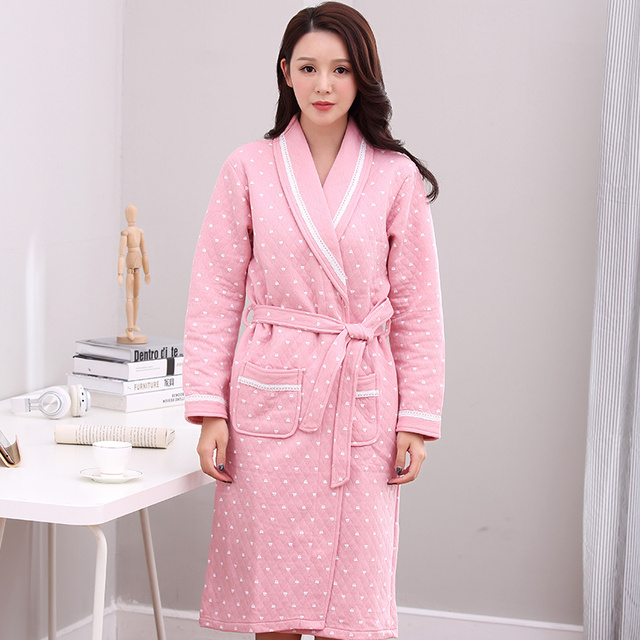 42714d9822 Knitted Cotton Quilted Bathrobe Women Autumn Winter Sexy Kimono Sleeping  Robe Long Sleeve Ladies Solid Elegant