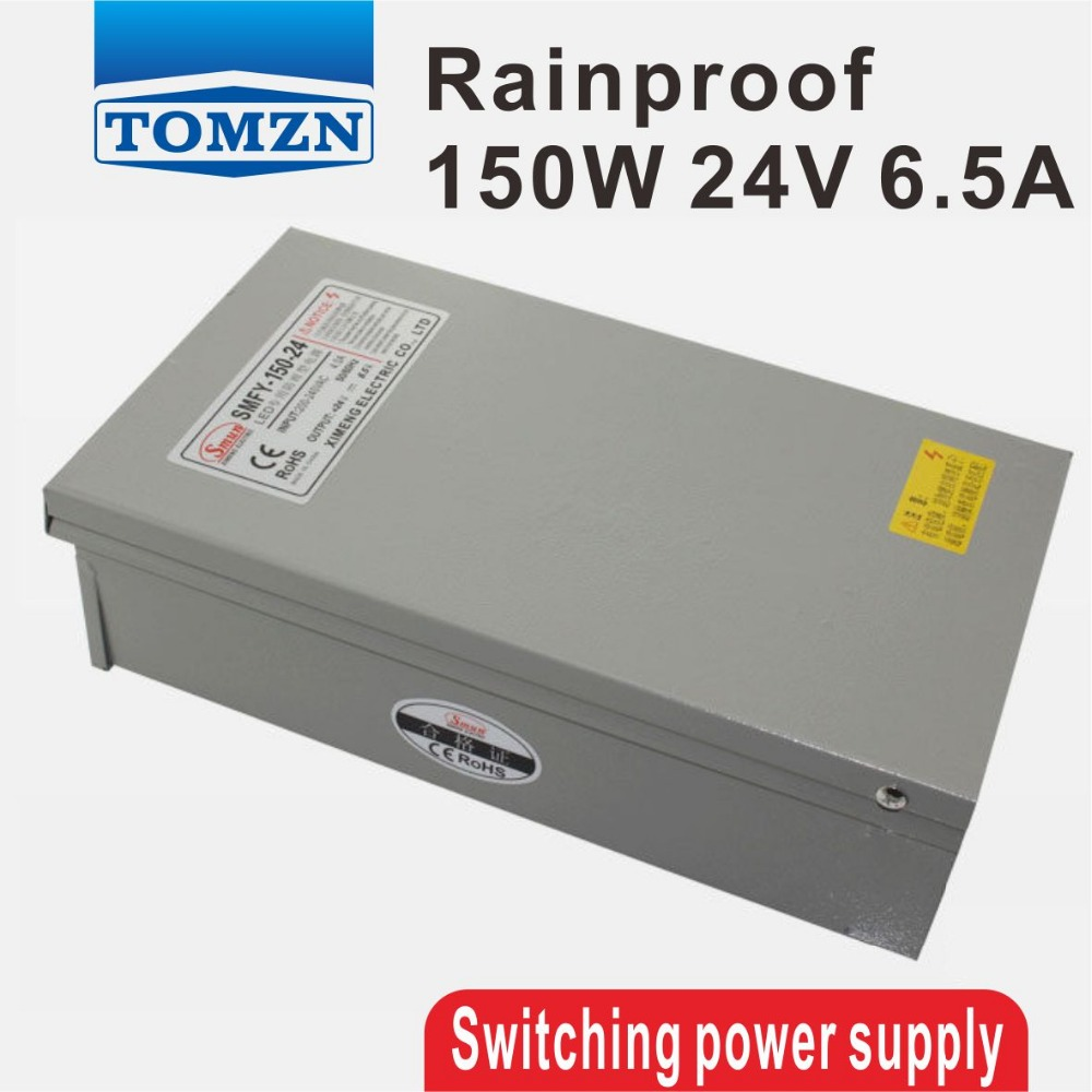 150W 24V 6.5A Rainproof outdoor Single Output Switching power supply smps AC TO DC for LED 60w 24v 2 5a rainproof outdoor single output switching power supply smps ac to dc for led