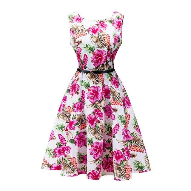 HimanJie mujeres vintage 1950 s floral imprimir Bauhinia flor rosa ...