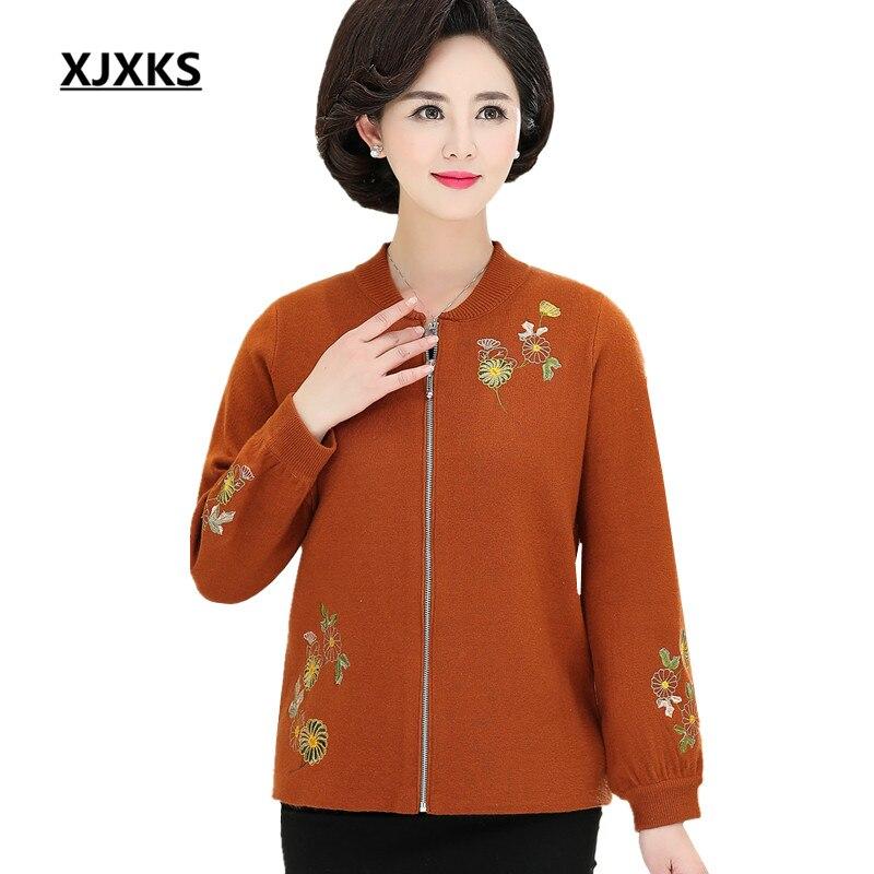 XJXKS mode veste à glissière femmes 2019 printemps nouveau lâche grande taille broderie confortable cachemire femmes tricoté manteau