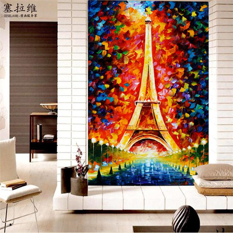 Eiffel tower wallpaper oil painting 3d photo wallpaper for Colourful wallpaper for walls