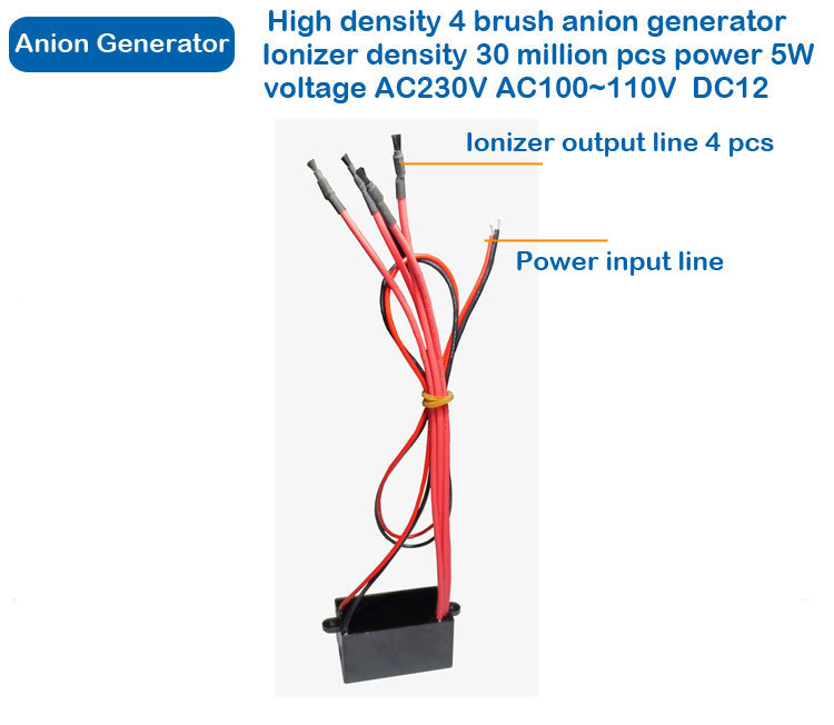 For DC 12V High Output DIY Air Ionizer Airborne Negative Ion Anion Generator Anion Free Shipping air purifier parts negative ion generator ionizer anion generator 2 carbon brush head 8 million ions cm3 free shipping wholesale