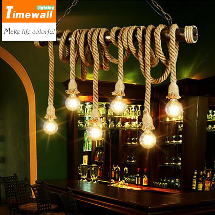 head rope chandelier with 6 individual coffee bar counter clothing shop Nordic retro Industrial Decoration pendant