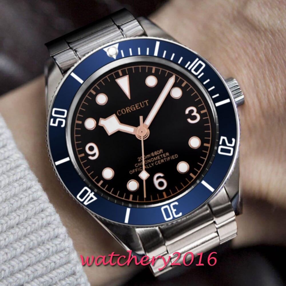 41 มิลลิเมตร Corgeut สีดำ Dial ส่องสว่างเครื่องหมายไพลินแก้วโรแมนติก Sweet Luxury การเคลื่อนไหวอัตโนมัติ Miyota นาฬิกาผู้ชาย-ใน นาฬิกาข้อมือกลไก จาก นาฬิกาข้อมือ บน   3