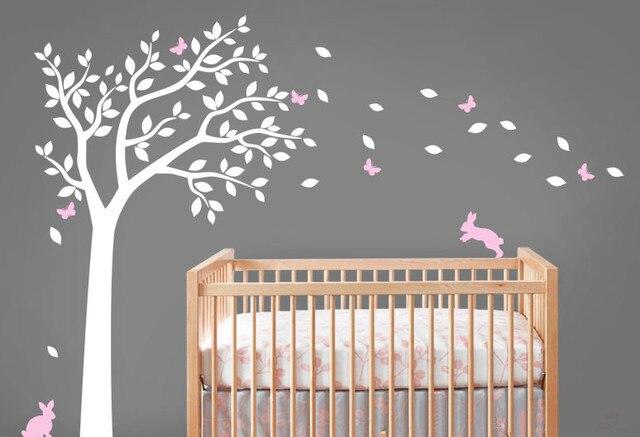 Beautiful Nursery Tree Wall Decals Bunnines With Erflies Falling Leaves Vinyl Sticker Kids Children Bedroom