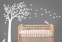 Beautiful Nursery Tree Wall Decals Bunnines With Butterflies Falling Leaves Vinyl Wall Sticker Kids Children Bedroom Decor D 304