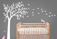 Beautiful Nursery Tree Wall Decals Bunnines With Butterflies Falling Leaves Vinyl Wall Sticker Kids Children Bedroom Decor D 304