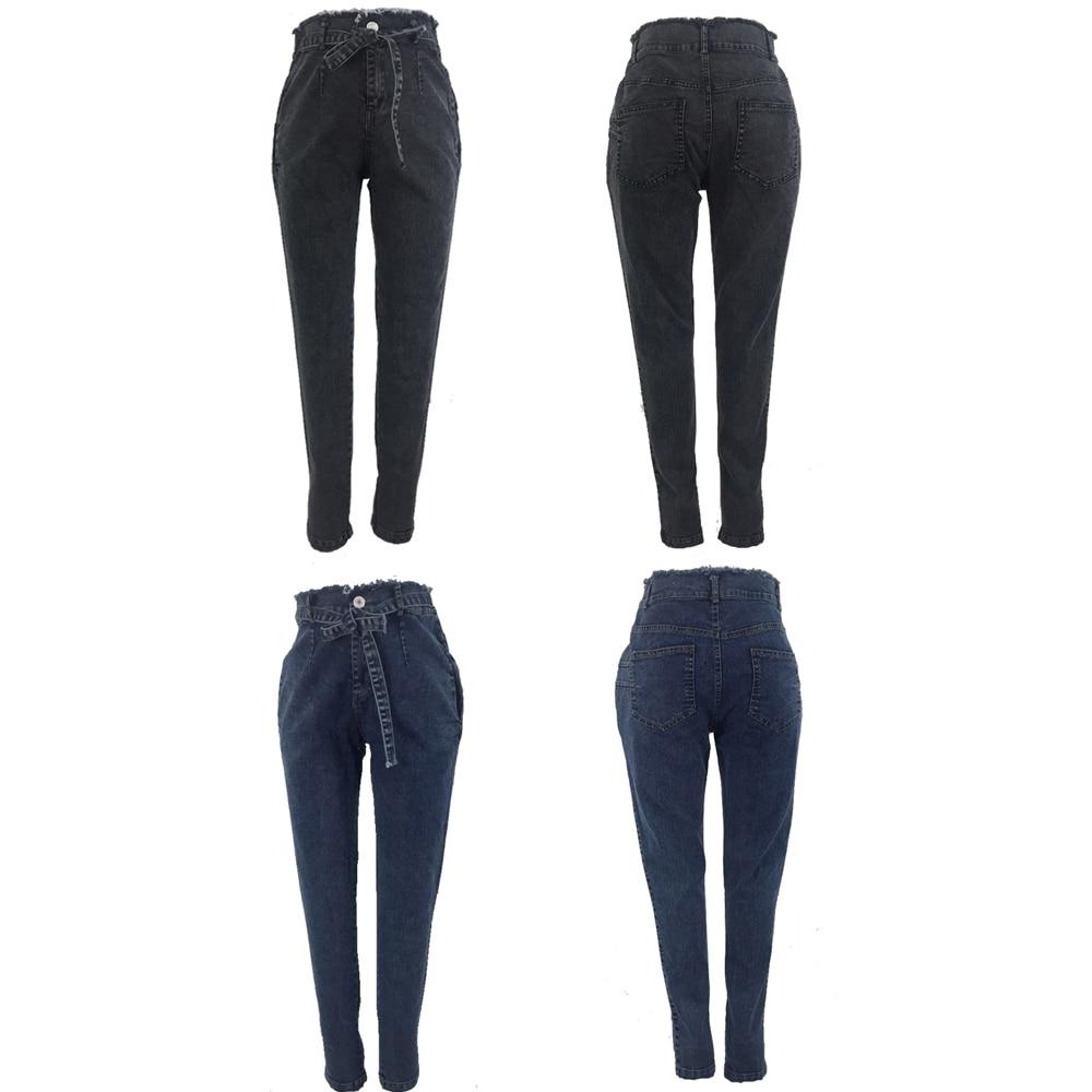 High Waist Jeans For Women Slim Stretch Denim Jean Bodycon Tassel Belt Bandage Skinny Push Up