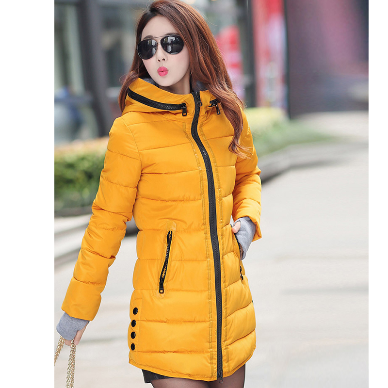 parkas   mujer 2018 women winter hooded warm coat plus size candy color cotton padded jacket female long   parka   womens wadded coat