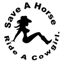 12.7CM*13.1CM Save A Horse Ride Cowgirl Car Sticker Motorcycle Decal Accessories Black/White for Honda Accord Civic CRV