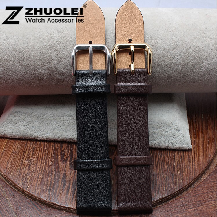 New 1pcs 12mm 14mm 16mm 18mm 20mm High Quality Black Brown Smooth Genuine Leather Watch Band Strap Gold Steel Depolyment Clasp 12mm 14mm 16mm 18mm 20mm bright watch strap smooth leather band black gold steel department clasp for fashion brand watches