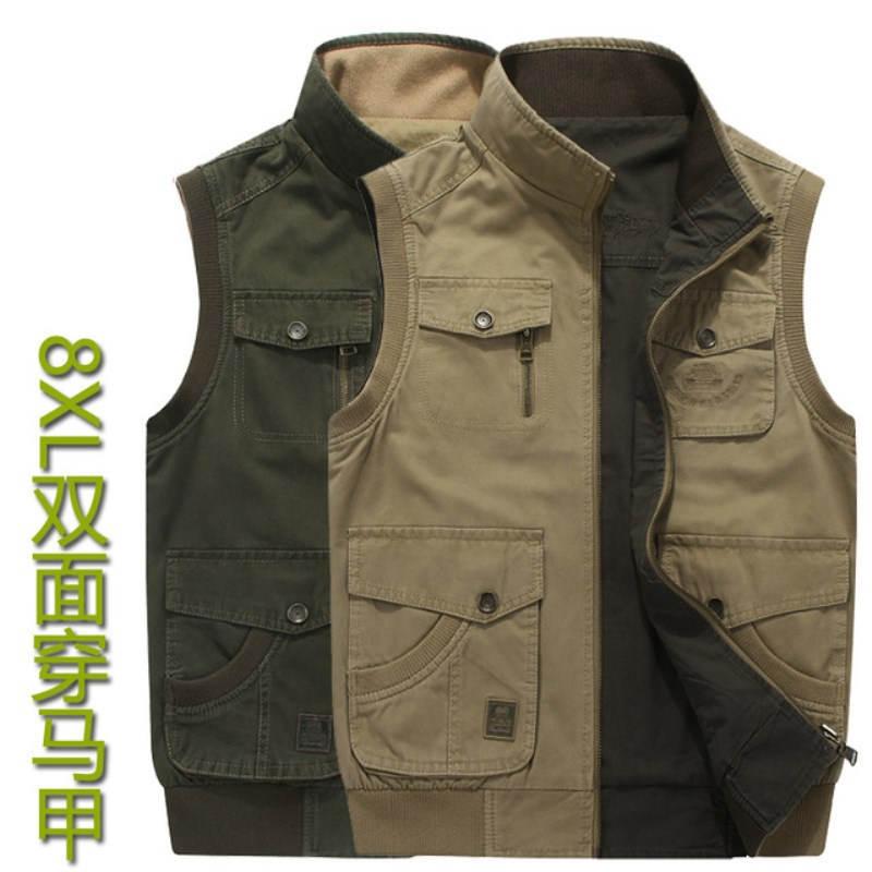Double wear Plus Size <font><b>6XL</b></font> <font><b>7XL</b></font> <font><b>8XL</b></font> AFS JEEP Brand Mens Vests Sleeveless Jacket Cotton Casual Multi Pocket Vest Men Waistcoat Coat image