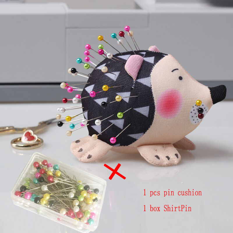 100 pcs DIY Sewing accessories Patchwork  Pins flower pin sewing pin with box and choose Hedgehog pin cushion+ShirtPin