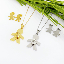 Stainless Steel Necklace Mama Family Necklaces Earings Jewelry Sets Silver Color Love Boy Pendant Choker Women Gifts