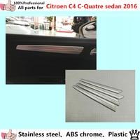 High Quality car garnish cover stainless steel inner trim door Armrest handrail (model 1)4pcs for Citroen C4 C-Quatre Sedan 2016