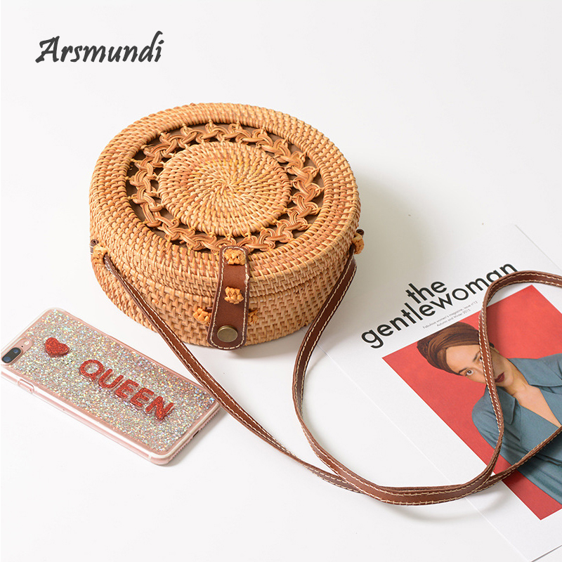 Arsmundi New Women Straw Bag Handmade Rattan Round Bohemia Style Beach Circle Hollow Retro Kintted Bow Shoulder Bags