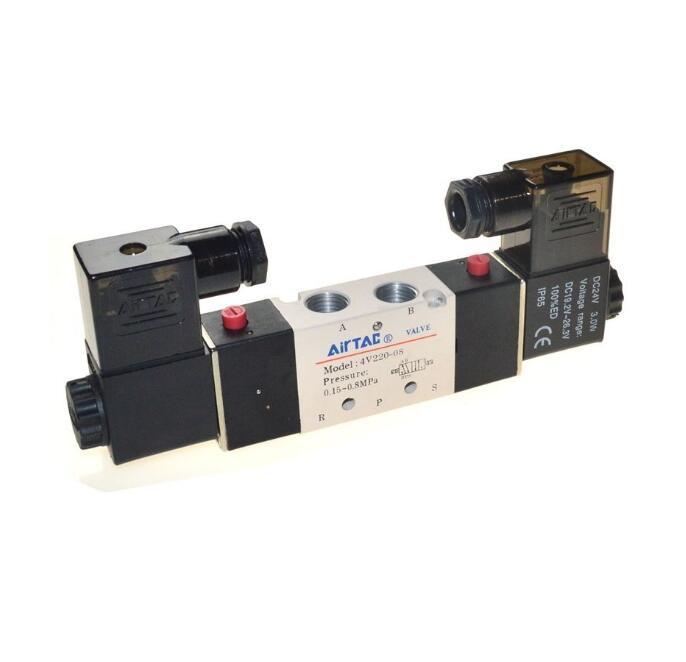 1 pcs 4V220-08 Airtac Air Pneumatique Électrovanne 5 voies 2 Position 1/4 en Alliage d'aluminium Interne E DC12V, DC24V ou AC110V AC220V