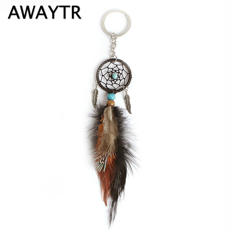 AWAYTR Ancient Silver Leaves Handmade Dream Catcher Key Chain Pendant Keyring Dream Catcher Creative Tassel Feather
