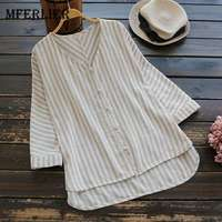 Mferlier Summer Womens Tops And Blouses Refreshing Striped V Neck Artsy Loose Cotton Linen Commute Ladies