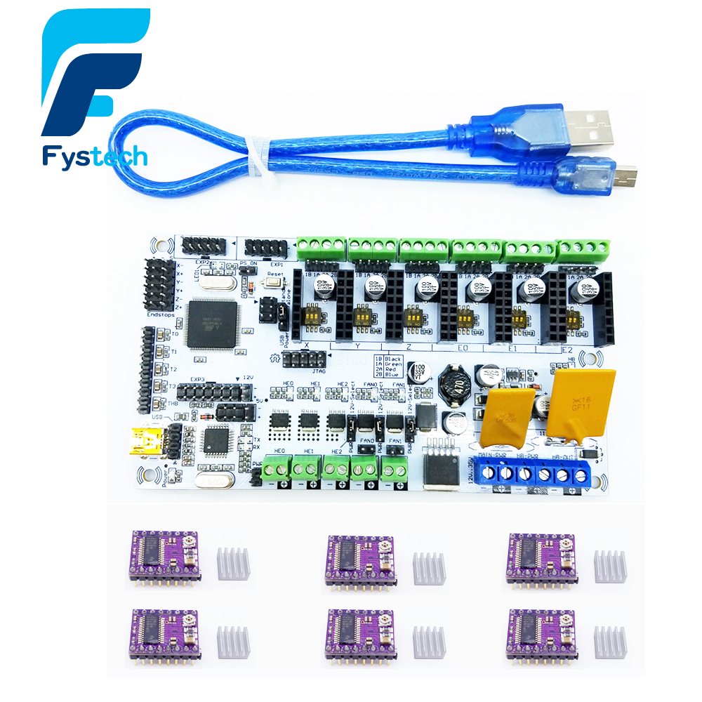 3D Printer Start Kits Mother Board Rumba Board With 6pcs DRV8825 Stepper Driver And 6pcs Heatsink with free shipping  цена и фото
