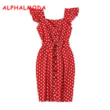 ALPHALMODA 2018 New Polka Dot Shirt Pocket Dress Petal Sleeve Single Breasted Slim Sashes Women Fashion Summer Vestidos(China)