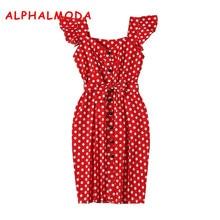 ALPHALMODA 2018 New Polka Dot Shirt Pocket Dress Petal Sleeve Single Breasted Slim Sashes Women Fashion Summer Vestidos