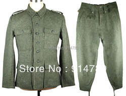 WWII DUITSE M43 WH EM SOLDAAT FIELD-GREY WOL UNIFORM JAS EN BROEK IN MATEN-33101