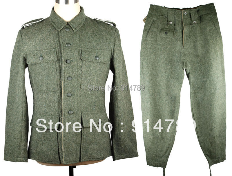 WWII GERMAN M43 WH EM SOLDIER FIELD-GREY WOOL UNIFORM JACKET AND TROUSERS IN SIZES - 33101