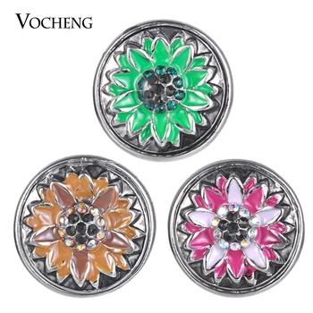 Vocheng Ginger Snaps Flower 3 Colors Interchangeable Snap Button Jewelry 18mm Vn-1842 image