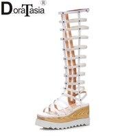 DoraTasia/модные из натуральной кожи на молнии на высоком каблуке и танкетке Туфли на твёрдой платформе женские гладиаторы для отдыха сандалии ...