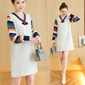 2016 Korean pregnant women dress fashion loose V-neck long-sleeved A-line dress casual dress