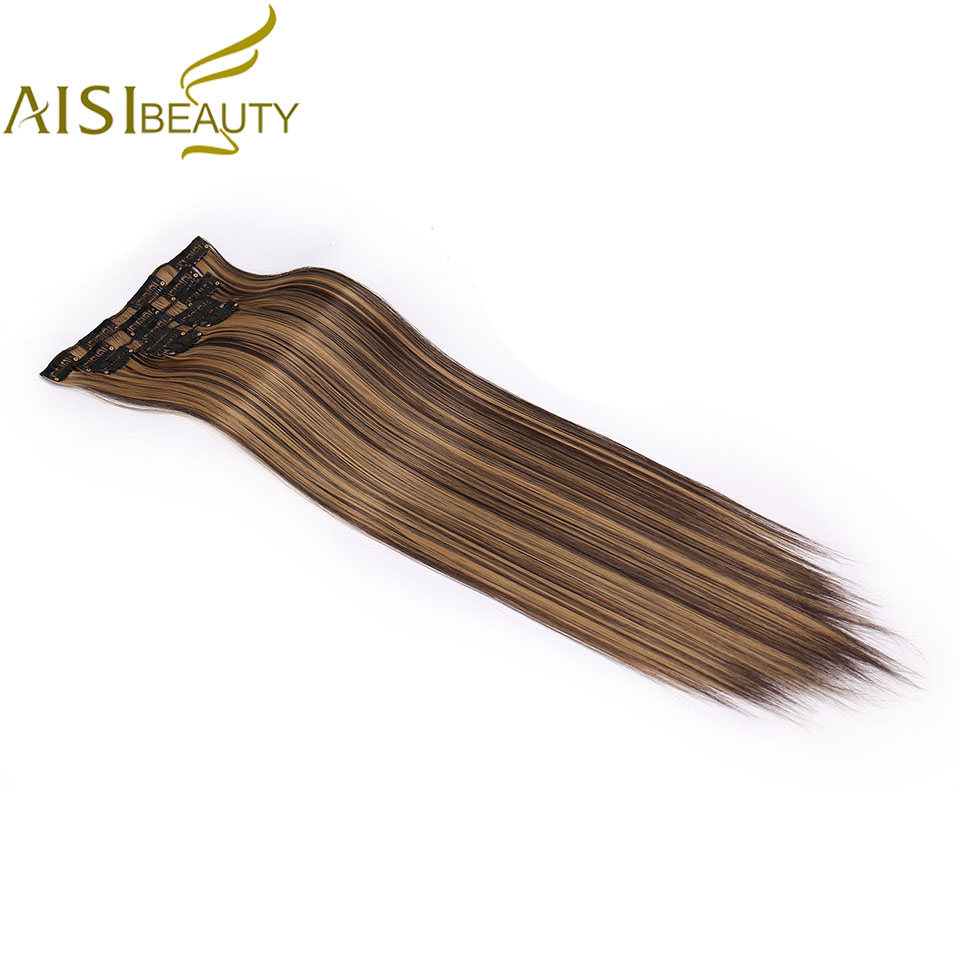 AISI BEAUTY 16 Clips Long Straight Synthetic Clips In Hair Extensions False Hairpiece 6Pcs/Set Black Blonde Hairpiece