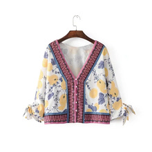 Fashion Floral Print V-Neck Blouse Women 2017 Summer Fashion Casual Shirt Sexy Women Vintage Oversize Loose Tops Famale
