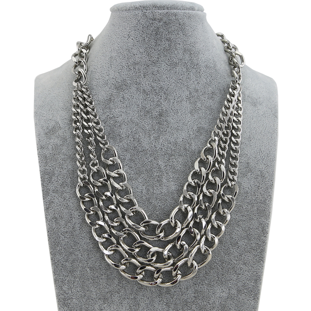 TrinketSea Roca Nuevo Diseño Estilo Tres de Metal Cadena de Eslabones Charmming Joyería Collar Llamativo Para Las Mujeres Shipping