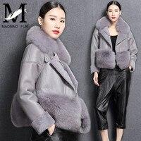 Для женщин зимние натуральная овечья кожа куртка натуральным лисьим мехом Куртка с воротником модные теплые натуральной овчины кожа меха я